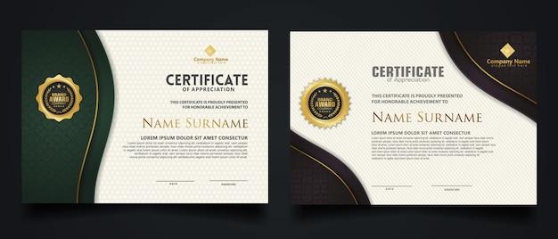 Certificaatsjabloon met elegant hoekframe en luxe realistisch structuurpatroon, diploma en premium badgesontwerp. vector illustratie