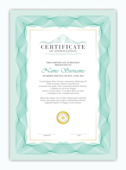 Certificaatsjabloon met klassieke guillochestijl en sierlijst