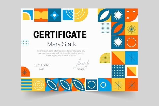 Certificaatsjabloon met kleurrijke mozaïek