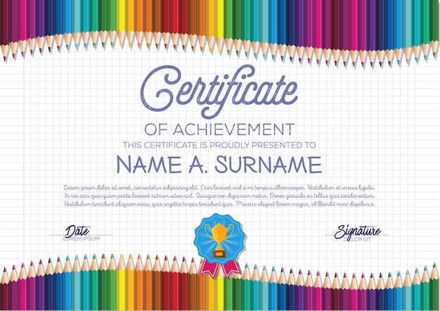 Certificaatsjabloon met kleurrijke potlood frame voor kinderen