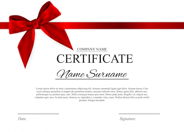 Certificaatsjabloon met rode strik