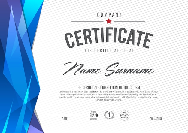 Certificaatsjabloon met schoon en modern patroon, luxe gouden, lege certificaatsjabloon voor kwalificatie met elegant, illustratie