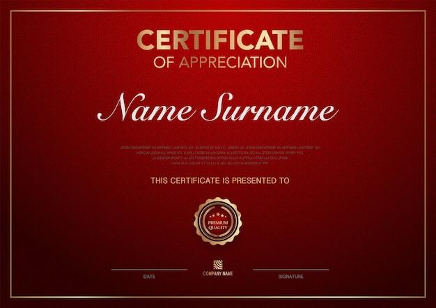 Certificaatsjabloon rood en goud luxe stijl afbeelding diploma van geometrisch modern ontwerp vector