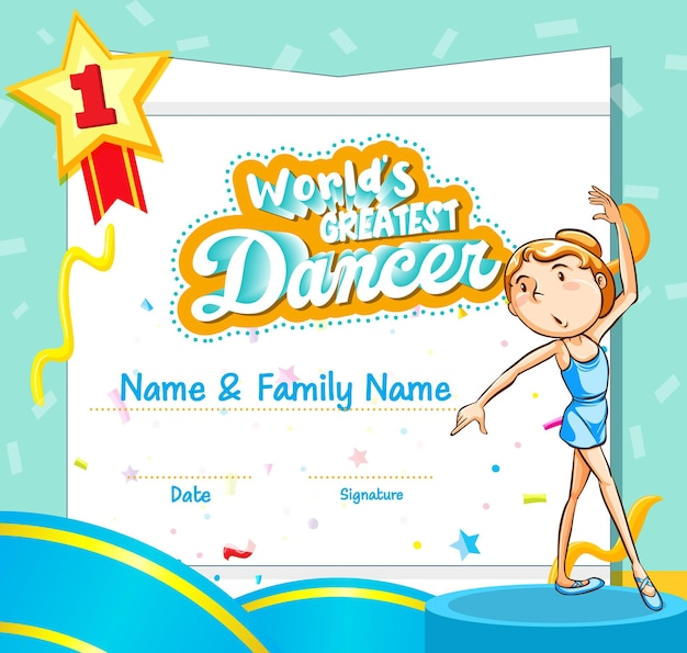 Certificaatsjabloon voor de beste danser ter wereld