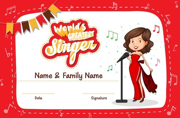 Certificaatsjabloon voor de beste zanger ter wereld