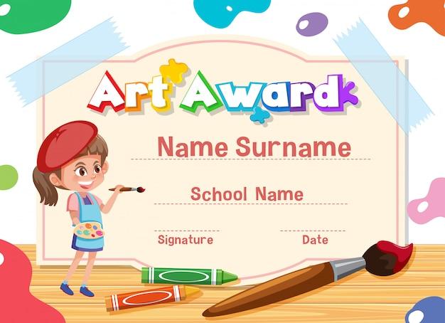 Certificaatsjabloon voor kunstprijs met kind schilderen op achtergrond
