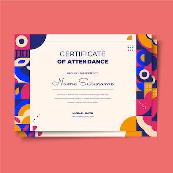 Certificaatsjabloon voor plat mozaïek Gratis Vector