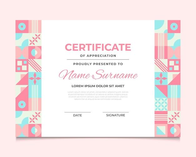 Certificaatsjabloon voor plat mozaïek