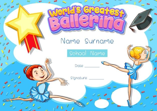 Certificaatsjabloon voor 's werelds grootste ballerina