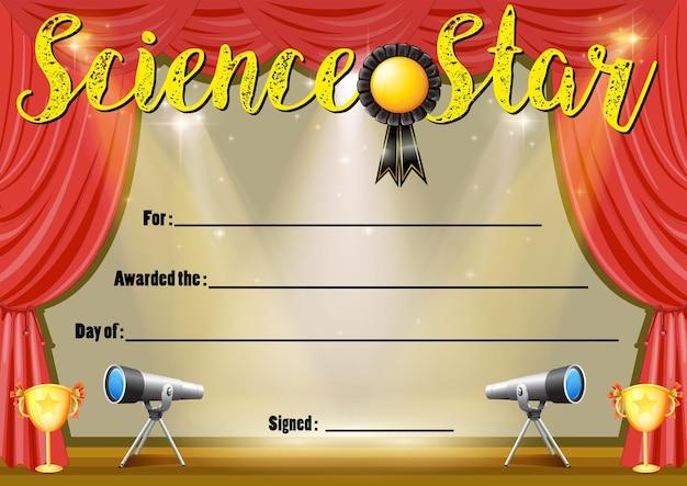 Certificaatsjabloon voor science star