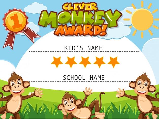 Certificaatsjabloon voor slimme aap award met apen