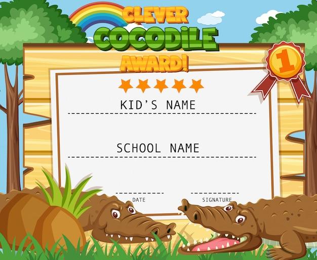 Certificaatsjabloon voor slimme award met krokodillen op achtergrond