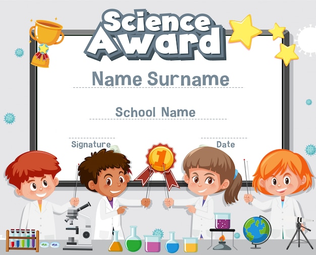 Certificaatsjabloon voor wetenschapsprijs met kind op de laboratoriumachtergrond