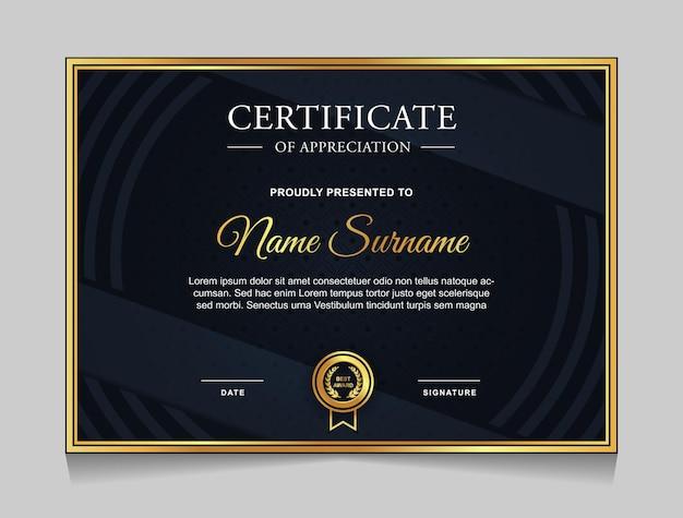 Certificaatsjabloonontwerp met gouden luxe moderne vormen