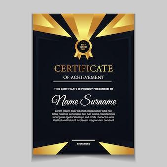 Certificaatsjabloonontwerp met marineblauw en luxe moderne vormen