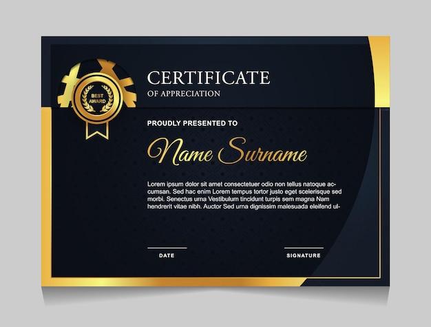 Certificaatsjabloonontwerp met marineblauwe en gouden luxe moderne vormen