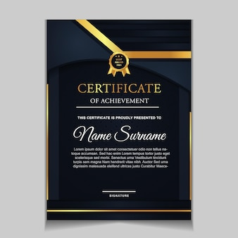 Certificaatsjabloonontwerp met marineblauwe en luxe moderne vormen