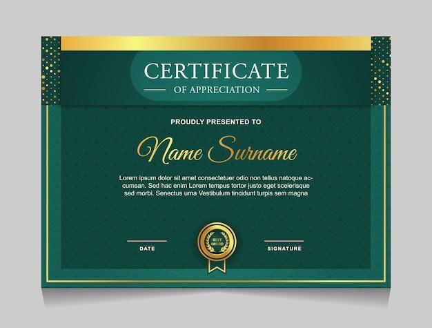 Certificaatsjabloonontwerp met moderne vormen in luxe gouden en groene kleuren
