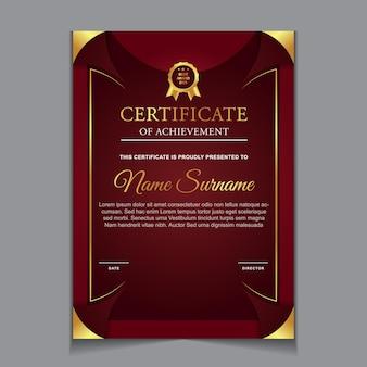 Certificaatsjabloonontwerp met rode en luxe moderne vormen