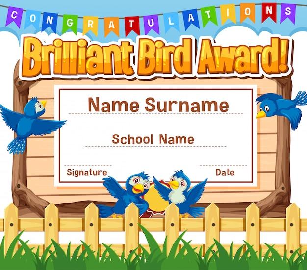 Certificaatsjabloonontwerp voor briljante vogelprijs met vogels in het park