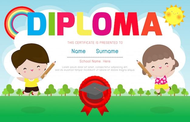 Certificaten kleuterschool en basisonderwijs, preschool kids diploma certificaat achtergrond ontwerpsjabloon, diploma sjabloon voor kleuterschoolstudenten, certificaat van kinderdiploma, illustratie