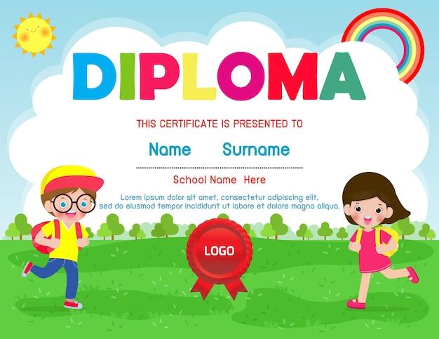 Certificaten kleuterschool en elementaire illustratie