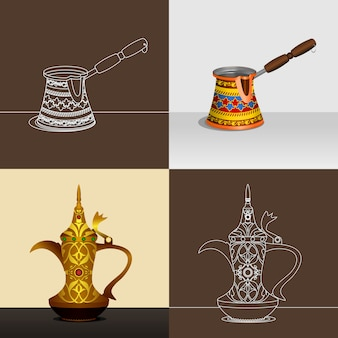 Cezve en dallah koffie potten illustratie