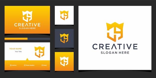 Ch-logo-ontwerp met visitekaartjesjabloon