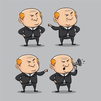 Chagrijnig baas karakter in verschillende poses