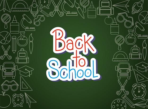 Chalck-pictogram ingesteld op groen bordontwerp, terug naar schoolonderwijs klasse les thema