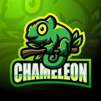 Chameleon esport logo mascotte ontwerp