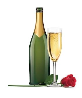 Champagne en roos geïsoleerd.