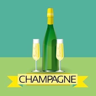 Champagne fles alcohol drinken pictogram plat