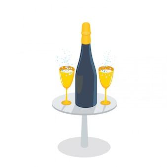Champagne-fles en gouden glazen met mousserende wijn op de lijst, op witte achtergrond wordt geïsoleerd die