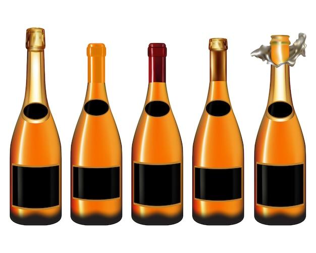 Champagne-fles op wit wordt geïsoleerd dat