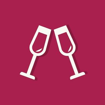 Champagne glazen valentijnsdag pictogram