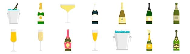 Champagne icon set