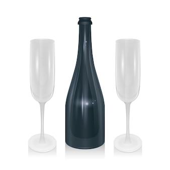 Champagnefles en champagneglazen