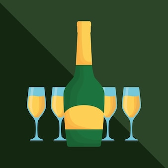 Champagnefles en glazen Premium Vector