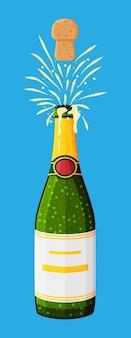 Champagnefles opening met pop en kurk vliegen. Premium Vector