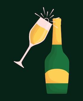 Champagneglas en fles Premium Vector