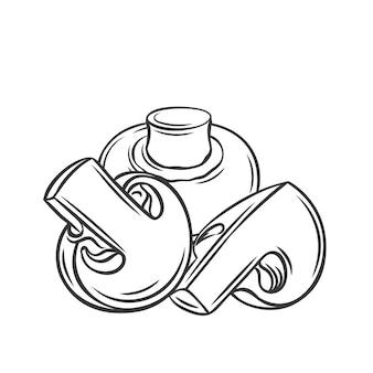 Champignonpaddestoel en plakjes schetsen zwart-wit afbeelding