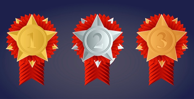 Champion gouden, zilveren en bronzen award medailles met rode linten