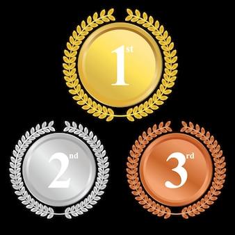 Champion gouden, zilveren en bronzen award medailles premium vector