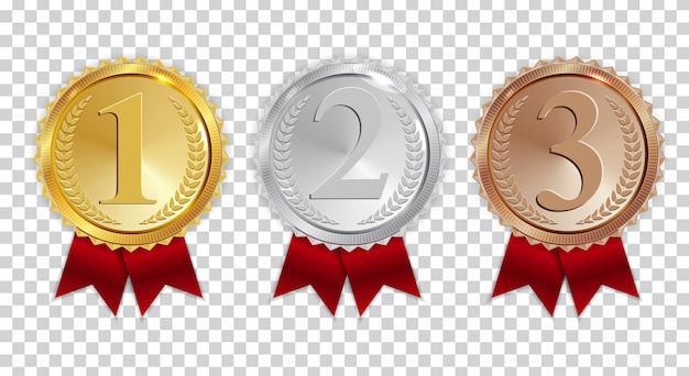 Champion gouden, zilveren en bronzen medaille met rood lint pictogram teken eerste, tweede en derde plaats ingesteld