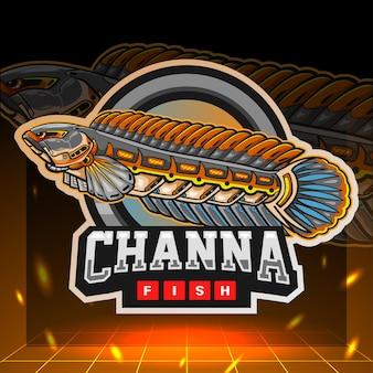 Channa fish mecha robot mascotte. esport logo ontwerp