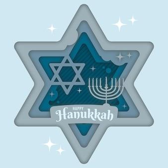 Chanoeka in papierstijl met religieus symbool en kroonluchter