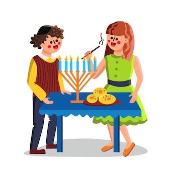 Chanoeka joodse vakantie vieren paar