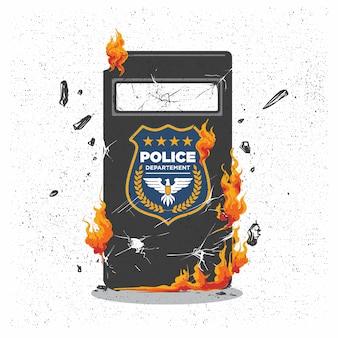 Chaos demonstratie met brandende politie schild