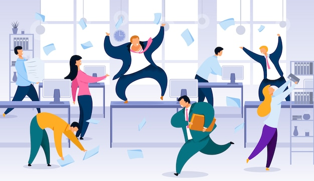 Chaos in office, project deadline flat vector